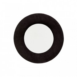 Oglinda rotunda gri carbune din catifea 50 cm Round Randy Madam Stoltz