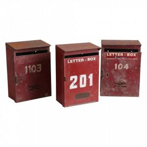 Decoratiune rosie din fier 32 cm Mailbox Raw Materials