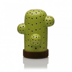 Decoratiune luminoasa LED verde/maro din ceramica si lemn Cactus Light Versa Home