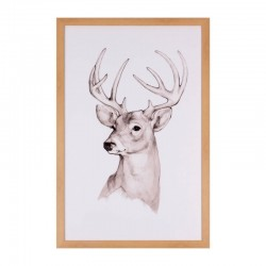 Tablou alb/maro din MDF si polistiren 40x60 cm Deer Somcasa