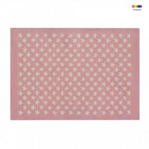 Covor dreptunghiular roz/crem din bumbac si lana 140x200 cm Little Stars Soft Pink Lorena Canals