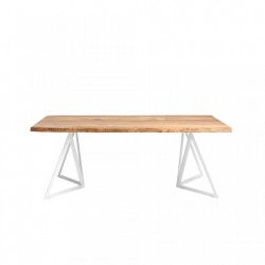 Masa dining alba/maro din lemn stejar si otel 90x160 cm Sherwood Custom Form