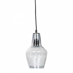 Lustra transparenta din fier si sticla gri Engrave Grey Be Pure Home