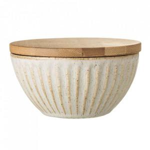 Bol crem din ceramica cu capac 250 ml Carrie Bloomingville
