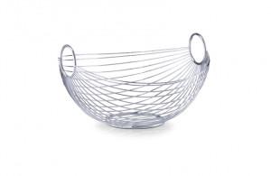 Fructiera argintie din metal 25,5x28 cm Fruit Basket Oval Zeller