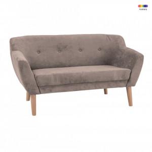 Canapea bej din textil si lemn 139 cm Bergen Signal Meble