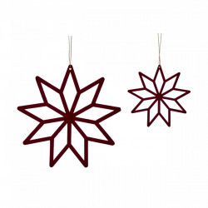 Set 2 decoratiuni suspendabile rosu bordo din lemn si placaj Star Hubsch