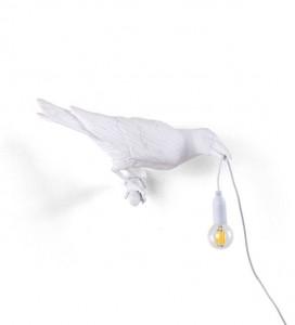 Aplica alba din rasina Bird Looking Right Seletti