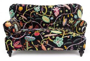 Canapea multicolora din poliester si lemn pentru 2 persoane Botanical Diva Black Seletti