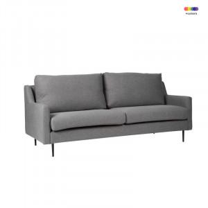 Canapea gri inchis din lemn de pin si poliester pentru 2 persoane London Dark Grey Somcasa