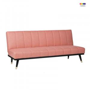 Canapea extensibila roz din lemn de pin si poliester pentru 2 persoane Madrid Pink Somcasa