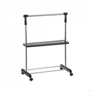 Suport argintiu/negru din metal si plastic pentru umerase Adjustable Hanger Black Unimasa