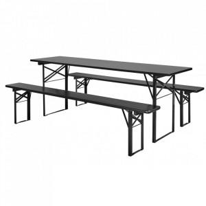 Set masa dining si 2 banchete negre din lemn si metal Pinewood Black Nordal