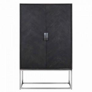 Dulap negru/argintiu din lemn si inox 175 cm Blackbone Cabinet Richmond Interiors