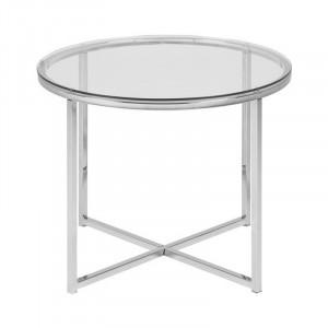 Masuta argintie/transparenta din metal si sticla 55 cm Cross Lavi Actona Company