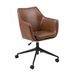Scaun birou negru/maro din metal si poliuretan Nora Actona Company