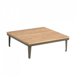 Masuta cafea maro din aluminiu si lemn de salcam pentru exterior 90x90 cm Pascale La Forma