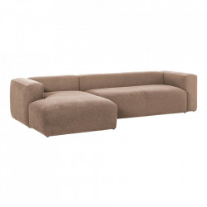 Canapea roz din fibre acrilice si lemn de pin cu colt pentru 3 persoane Blok Left La Forma