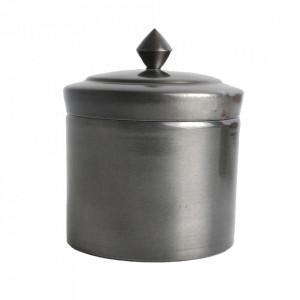 Cutie argintie din fier cu capac Industrial High Raw Materials
