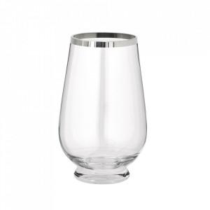 Vaza argintie/transparenta din sticla cristal 30 cm Asil Edzard