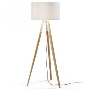 Lampadar din lemn cu abajur textil alb Uzagi La Forma