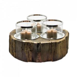 Suport maro/argintiu din lemn de tec si sticla pentru lumanari 25 cm Chattanooga Edzard