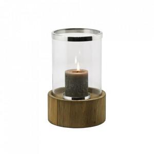 Suport maro/argintiu din lemn de tec si sticla pentru lumanare 45 cm Frisco Edzard