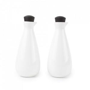 Set 2 recipiente cu capac albe/negre din portelan pentru ulei si otet Blanco Aerts