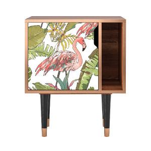 Noptiera multicolora din MDF si lemn Sweet Flamingo Furny