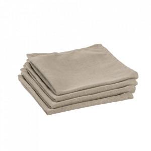 Set 4 protectii masa patrate bej din textil 40x40 cm Samay La Forma