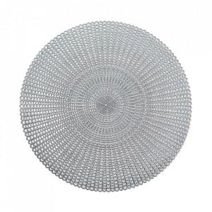 Protectie masa rotunda argintie din PVC 41 cm Cut Out Zeller