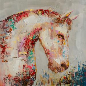 Tablou multicolor din canvas si lemn 90x90 cm Onyx Ter Halle