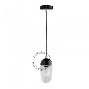 Lustra neagra/transparenta din portelan si sticla Kim Clear Zangra