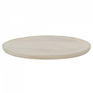 Tava rotunda alba din lemn 41 cm Discus Be Pure Home