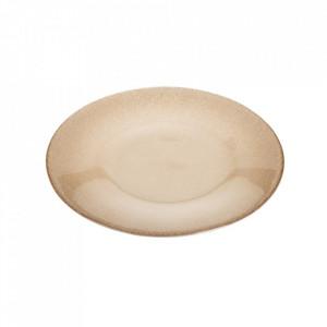Farfurie bej din sticla pentru desert 21,5 cm Caffia Ixia