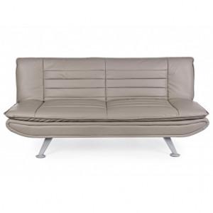 Canapea extensibila grej din piele si otel 183 cm Symon Bizzotto