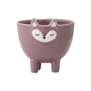 Decoratiune roz din ceramica 8 cm Fox Bloomingville