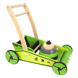 Jucarie de impins multicolora din lemn Mower Small Foot