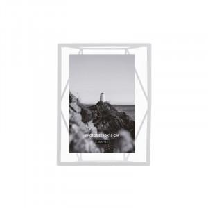 Rama foto alba/transparenta din metal si sticla pentru perete 16x21 cm Nuri LifeStyle Home Collection
