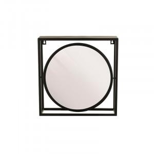 Oglinda rotunda neagra din metal cu raft 34x34 cm Alcott Lifestyle Home Collection