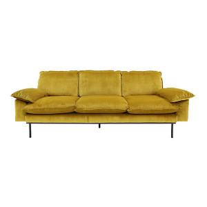 Canapea din catifea galbena pentru 3 persoane Ochre HK Living