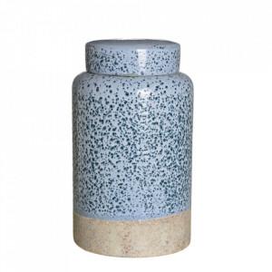 Recipient albastru din ceramica cu capac 19,5x33 cm Etjo Ixia