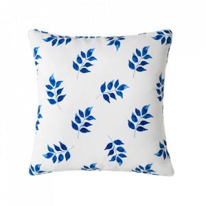 Perna decorativa patrata alba/albastra din poliester 45x45 cm Dennis Unimasa