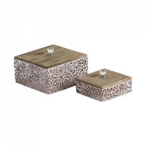 Set 2 cutii cu capac din lemn si otel Jimenez Vical Home
