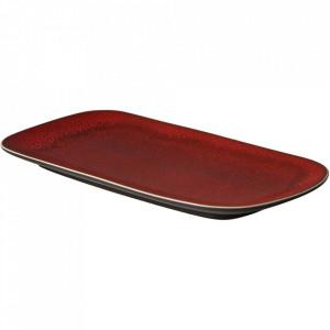Platou rosu/negru din ceramica 14,5x29,5 cm Lava Palmer