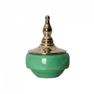 Recipient cu capac verde/auriu din ceramica 16,5x24 cm Rassy Vical Home