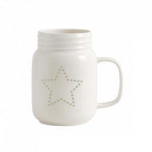 Cana alba din ceramica 7x13 cm Star Nordal