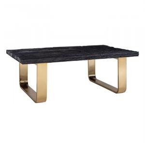 Masa neagra/aurie din lemn si inox pentru cafea 80x130 cm Vendome Richmond Interiors