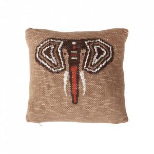 Perna decorativa patrata multicolora din bumbac 30x30 cm Elephant Quax