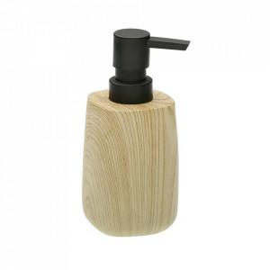 Dispenser sapun lichid maro din plastic 7,5x15,5 cm Woodie Versa Home